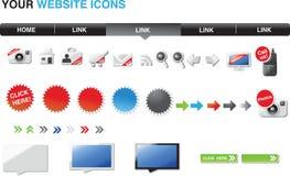 glansig din symbolswebsite för upplaga Fotografering för Bildbyråer