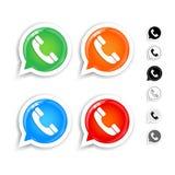 Glansig gräsplan, apelsinen, blått, den röda telefontelefonluren i anförandebubblasymboler ställde in Svartvita versioner vektor illustrationer