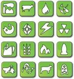 glansig grön symbolsindustri stock illustrationer