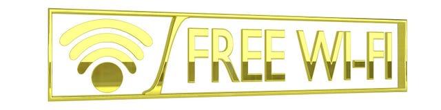 Glansig guld- fri wifisymbol - 3D framför isolerat på Royaltyfri Bild