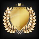 Glansig guld- sköld med lager Royaltyfria Bilder