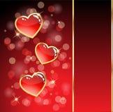 glansig hjärta för kort Arkivbild