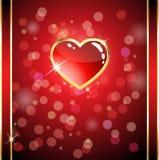 glansig hjärta för kort Royaltyfria Bilder