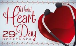 Glansig hjärta, stetoskop och kardiogram som firar minnet av världshjärtadagen, vektorillustration Royaltyfria Foton