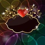 glansig hjärtajordgubbe för kort Fotografering för Bildbyråer