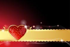 glansig hjärtajordgubbe för kort Arkivfoton