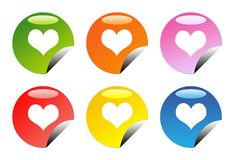 glansig hjärtaförälskelse för knappar Fotografering för Bildbyråer