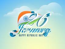 Glansig 26 Januari text med flaggan för republikdag stock illustrationer