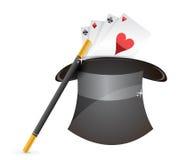 Glansig magisk hatt, wand och kort royaltyfri illustrationer