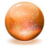 Glansig orange sfär Arkivbild
