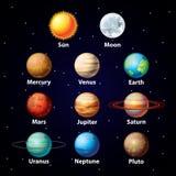 Glansig planetvektoruppsättning Arkivbild