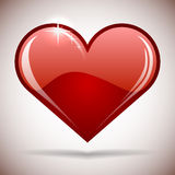 Glansig röd hjärtasymbol Royaltyfria Foton