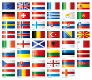 glansig set för europeiska flaggor Royaltyfri Fotografi