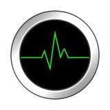 Glansig symbol med grön puls framförande 3d Royaltyfri Foto