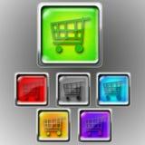 Glansig symbol - Shoping vagn Royaltyfri Foto