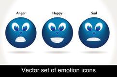 glansig symbolsset för kall emoticon Arkivfoton