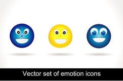 glansig symbolsset för kall emoticon Fotografering för Bildbyråer
