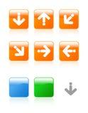 glansig symbolsset för pilar vektor illustrationer