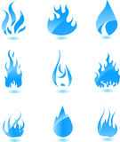 glansig symbolsset för stor blå brand Arkivbilder