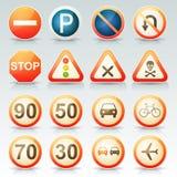 Glansig symbolsuppsättning för vägmärken Arkivfoto