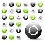 glansig symbolswebsite för applikation Arkivfoto
