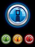 glansig telefon för knapp royaltyfri illustrationer