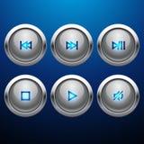 Glansig uppsättning för symbol för multimediakontrollrengöringsduk Royaltyfria Bilder