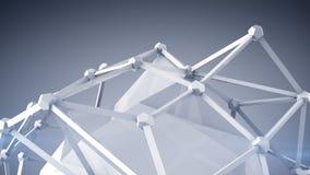 Glansig vit polygonform 3D framför Arkivbilder