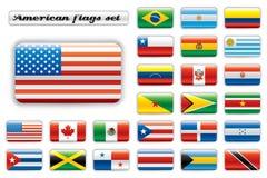 glansiga extra flaggor för Amerika knapp vektor illustrationer