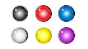 Glansiga färgrika rengöringsdukknappar Royaltyfri Fotografi