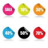 glansiga försäljningsetiketter för rabatt Arkivbilder