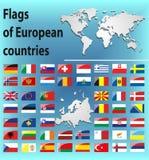 Glansiga flaggor av europeiska länder Arkivbild
