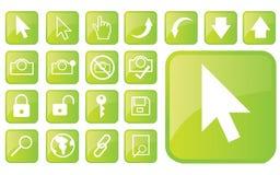 glansiga gröna symboler part1 Arkivbilder
