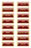 Glansiga internetknappar för röd och guld- rektangel Royaltyfri Bild