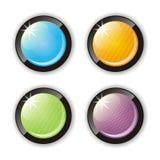 glansiga knappar fyra Royaltyfria Foton