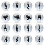 glansiga mänskliga silhouettes för bollar Royaltyfri Fotografi