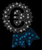 Glansiga Mesh Network Euro Warranty Seal med pråliga fläckar royaltyfri illustrationer