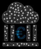 Glansiga Mesh Wire Frame Euro Cloud som packar ihop med ljusa fläckar vektor illustrationer