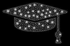 Glansiga Mesh Wire Frame Graduation Cap med pråliga fläckar royaltyfri illustrationer
