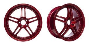 glansiga röda hjul för legering Royaltyfria Bilder