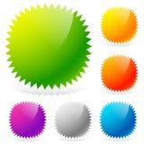 Glansiga starburst-/sunburstdesignbeståndsdelar i 6 färger vektor illustrationer