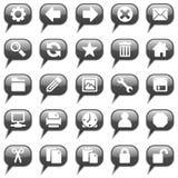 glansiga symboler för svart bubblapratstund royaltyfri illustrationer