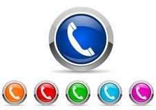 Glansiga symboler för telefon stock illustrationer
