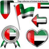 Glansiga symboler med flaggan av Förenade Arabemiraten royaltyfri illustrationer