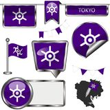 Glansiga symboler med flaggan av Tokyo Fotografering för Bildbyråer