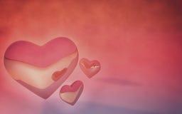 Glansiga Valentine Hearts Pink och röd bakgrund stock illustrationer