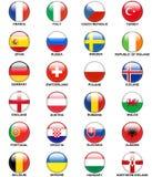 Glansigt euro 2016 för flaggor för europeiska länder för knappar Arkivbild