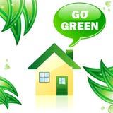 glansigt går det gröna huset stock illustrationer