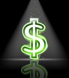 glansigt grönt tecken för dollar Royaltyfri Foto