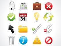 glansowane ikony ustawiają sieć Fotografia Royalty Free